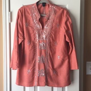 Tunic Runs Small- Beautiful Salmon Color w/silver